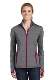Women's Sport-Wick Stretch Contrast Full-Zip Jacket Charcoal Grey Heather with Pink Rush Thumbnail