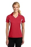 Women's Side Blocked Micropique Polo Shirt True Red with White Thumbnail