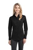 Women's Stretch Poplin Shirt Black Thumbnail