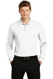 Long Sleeve Micropique Polo Shirt White Thumbnail
