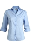 V-neck 3/4 Sleeve Tailored Blouse Blue Thumbnail