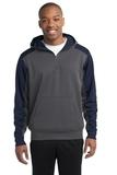 Sport-tek Colorblock Tech Fleece 1/4-zip Hooded Sweatshirt Graphite Heather with True Navy Thumbnail