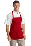 Medium Length Apron With Pouch Pockets Red Thumbnail
