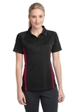 Women's Micro-mesh Colorblock Polo Black with Red Thumbnail
