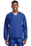 Tipped V-neck Raglan Wind Shirt True Royal with White Thumbnail