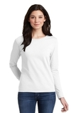 Women's Heavy Cotton 100 Cotton Long Sleeve TShirt White Thumbnail