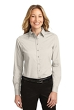 Women's Long Sleeve Easy Care Shirt Light Stone with Classic Navy Thumbnail