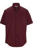 Men's Cotton Rich Short Sleeve Twill Shirt Burgundy Thumbnail