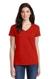 Women's Heavy Cotton 100 Cotton VNeck TShirt Red Thumbnail
