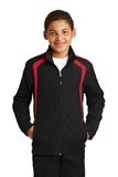 Youth Colorblock Raglan Jacket Black with True Red Thumbnail