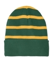 Striped Beanie with Solid Band Forest Green with Gold Thumbnail