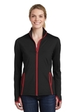 Women's Sport-Wick Stretch Contrast Full-Zip Jacket Black with True Red Thumbnail