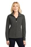 Women's Heather Microfleece Full-Zip Jacket Black Charcoal Heather Thumbnail