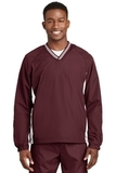 Tipped V-neck Raglan Wind Shirt Maroon with White Thumbnail