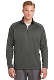 1/4-zip Fleece Pullover Dark Smoke Grey with Black Thumbnail