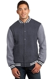 Fleece Letterman Jacket Graphite Heather with Vintage Heather Thumbnail