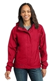 Women's Eddie Bauer Rain Jacket Radish with Grey Steel Thumbnail