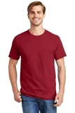 Tagless 100 Comfortsoft Cotton T-shirt With Pocket Deep Red Thumbnail