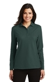Women's Silk Touch Long Sleeve Polo Shirt Dark Green Thumbnail