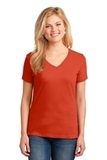 Women's 5.4-oz 100 Cotton V-neck T-shirt Orange Thumbnail