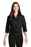 Women's 3/4Sleeve Carefree Poplin Shirt Deep Black Thumbnail