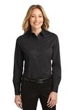 Women's Long Sleeve Easy Care Shirt Black with Light Stone Thumbnail