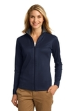 Women's Heavyweight Vertical Texture Full-zip Jacket True Navy with Iron Grey Thumbnail
