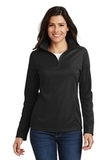 Women's Pinpoint Mesh 1/2 Zip Pullover Black Thumbnail