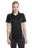 Women's Micro-mesh Colorblock Polo Black with White Thumbnail