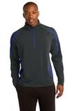 Sport-wick Stretch 1/2-zip Colorblock Pullover Charcoal Grey with True Royal Thumbnail