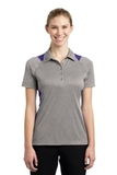 Women's Heather Colorblock Contender Polo Vintage Heather with Purple Thumbnail
