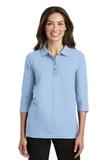 Women's Silk Touch 3/4-sleeve Polo Shirt Light Blue Thumbnail