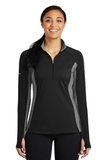 Women's SportWick Stretch Contrast 1/2-Zip Pullover Black with Charcoal Grey Heather Thumbnail