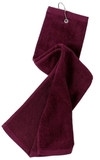 Grommeted Tri-fold Golf Towel Maroon Thumbnail