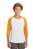 Youth Colorblock Raglan Jersey White with Gold Thumbnail