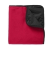 Fleece Poly Travel Blanket Rich Red with Black Thumbnail
