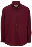 Men's Button Down Poplin Shirt LS Wine Thumbnail