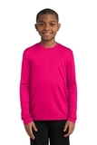 Youth Long Sleeve Competitor Tee Pink Raspberry Thumbnail