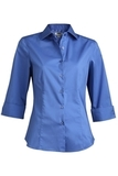 3/4 Sleeve Stretch Broadcloth Blouse French Blue Thumbnail