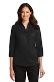 Women's 3/4Sleeve SuperPro Twill Shirt Black Thumbnail
