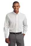 Tattersall Easy Care Shirt Green with Navy Thumbnail