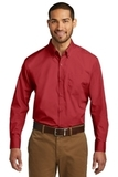 Port Authority Long Sleeve Carefree Poplin Shirt Rich Red Thumbnail
