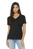 BELLA+CANVAS Women's Relaxed Jersey Short Sleeve V-Neck Tee Black Thumbnail