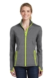 Women's Sport-Wick Stretch Contrast Full-Zip Jacket Charcoal Grey Heather with Charge Green Thumbnail