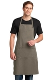 Easy Care Extra Long Bib Apron With Stain Release Khaki Thumbnail