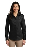 Women's Long Sleeve Carefree Poplin Shirt Deep Black Thumbnail