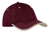 Vintage Washed Contrast Stitch Cap Maroon with Stone Thumbnail