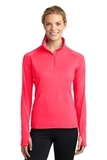 Women's Stretch 1/2-zip Pullover Hot Coral Thumbnail