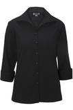 Women's Easy Care Poplin Shirt 3/4 Sleeve Black Thumbnail