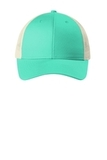 Low-Profile Snapback Trucker Cap Bright Seafoam with Ecru Thumbnail